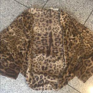 Neiman Marcus cheetah print cashmere shrug, L